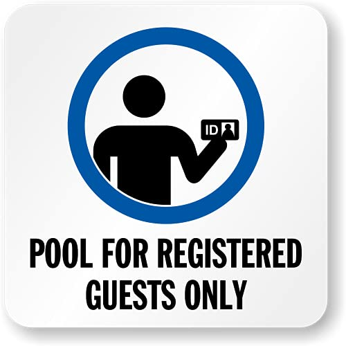 SmartSign 14,6 x 14,6 cm 'Pool For Registered Guests Only' - Marcador adhesivo para piscina con...